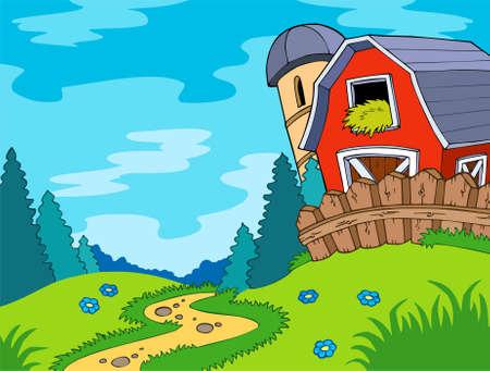 granary: Paesaggio di paese con fienile  Vettoriali