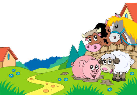 cartoon farm: Country landscape with farm animals  Illustration