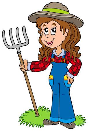 農家: かわいい農場の少女  イラスト・ベクター素材