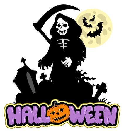 tombstone: Grim reaper with Halloween sign  Illustration