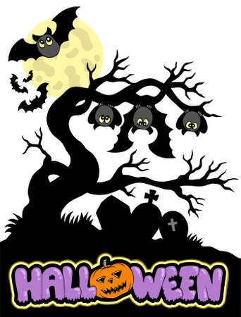 Halloween cemetery silhouette  Vector