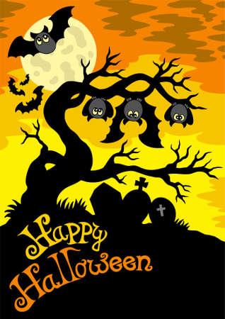 Halloween cemetery silhouette Stock Vector - 7630386