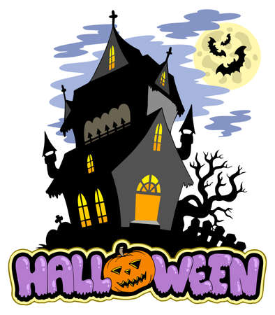 Halloween sign with haunted mansion  Vector