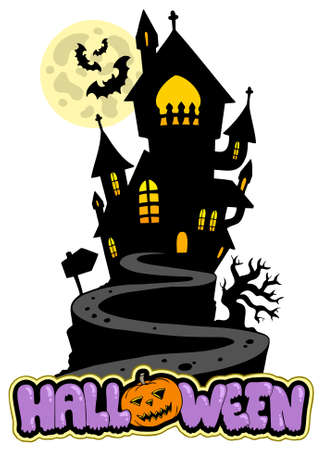 Halloween sign with house on hill Stock Vector - 7630379