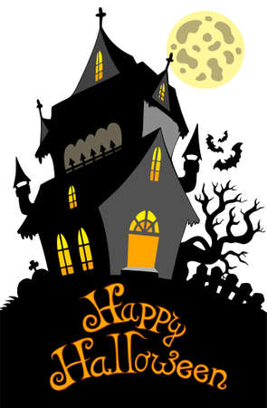 Happy Halloween sign with mansion Stock Vector - 7630414