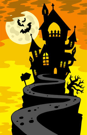 Haunted house silhouette on hill Stock Vector - 7630377