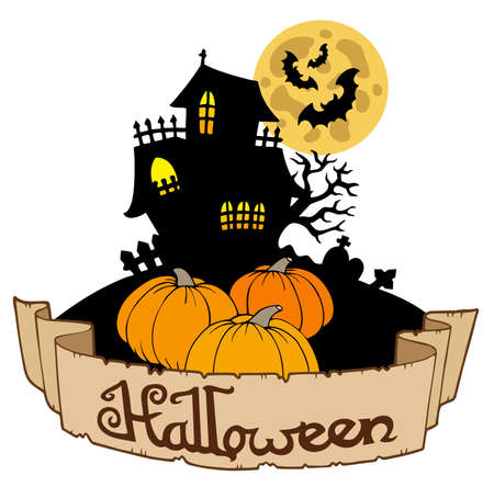 Haunted house with Halloween banner Vector