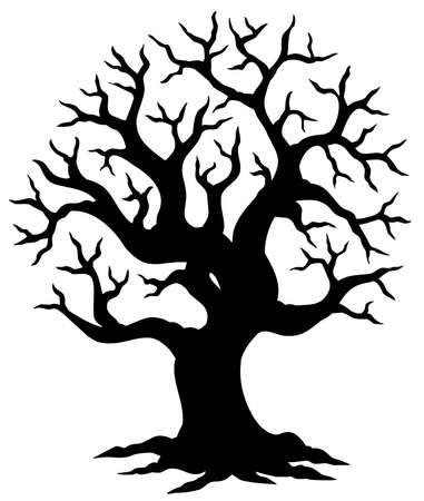 tree shadow: Hollow tree silhouette