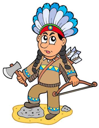 native indian: Ni�o indio con hacha y arco  Vectores
