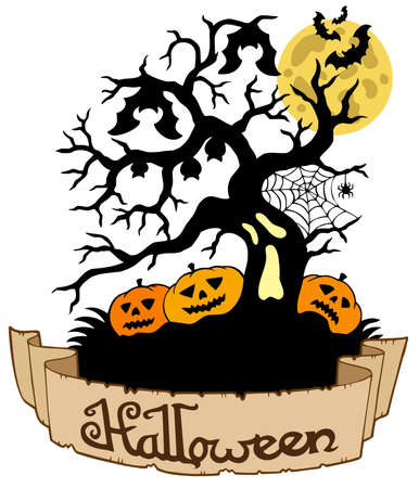 Tree silhouette with Halloween banner  Vector