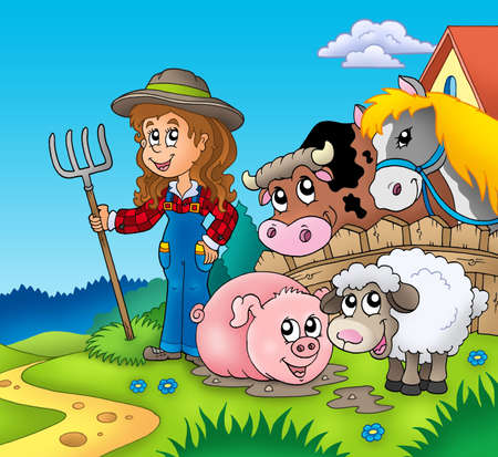 Country girl with farm animals - color illustration. Stock Photo