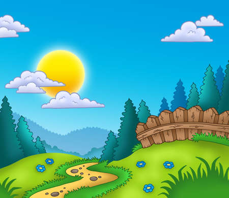 rural scene: Country landscape with Sun - color illustration.