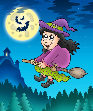 Cute witch on broom near castle - color illustration. illustration