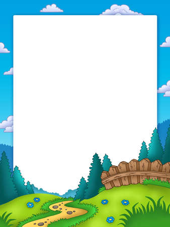 Frame with country landscape - color illustration. Stock Illustration - 7630198