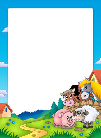cartoon farm: Frame with landscape and animals - color illustration.