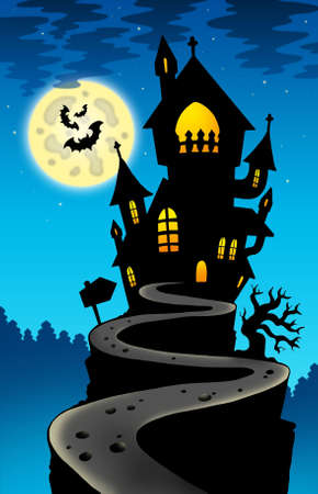 haunted tree: Haunted house on hill with Moon - color illustration.