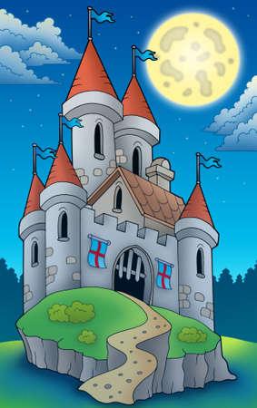 Night view on big castle on hill - color illustration. illustration