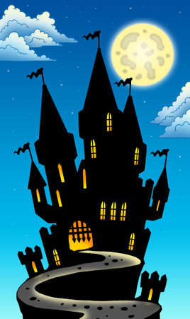 Night view on castle on hill - color illustration. Stock Illustration - 7630202