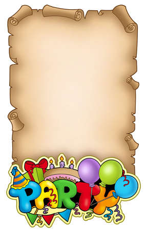 Scroll with party sign - color illustration. illustration