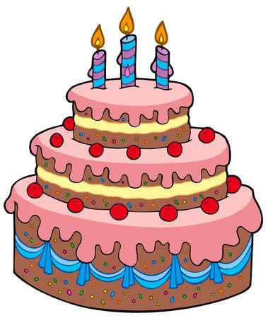 fancy pastry: Big cartoon birthday cake - vector illustration.