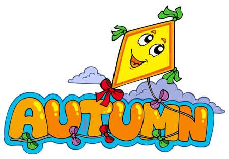 Cartoon autumn sign - vector illustration. Vector