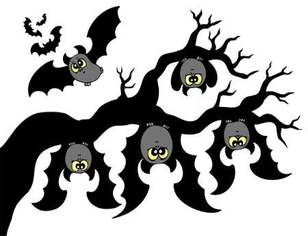 Cartoon bats hanging on branch - vector illustration. Vector