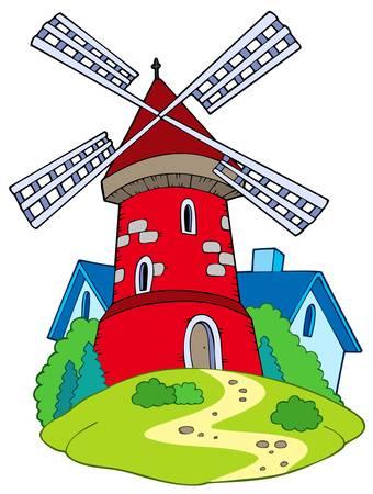 Cartoon mill on white background - vector illustration.