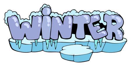 sopel lodu: Cartoon winter sign - vector illustration.