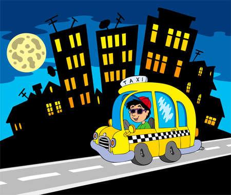 night road: City silhouette with taxi driver - vector illustration.