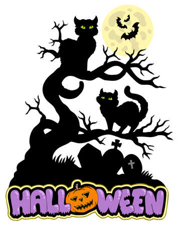 Halloween sign with cats - vector illustration. Vector