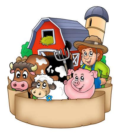 農家: 納屋と国の動物 - カラー イラストとバナーします。 写真素材