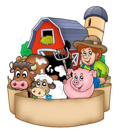 barnyard: Banner with barn and country animals - color illustration. Stock Photo