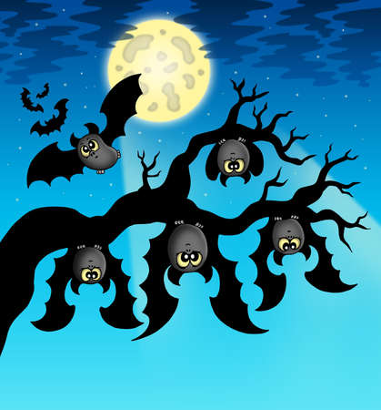 Cartoon bats with full moon - color illustration. Stock Illustration - 7722919