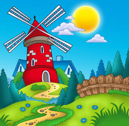 wind mills: Country landscape with red mill - color illustration. Stock Photo