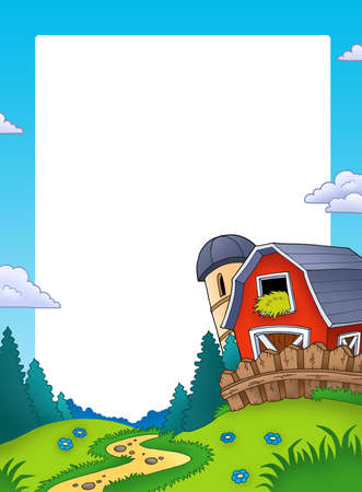 barnyard: Frame with landscape and barn - color illustration.