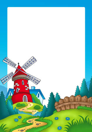 farm structures: Frame with landscape and red mill - color illustration.