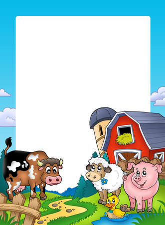 barnyard: Frame with barn and farm animals - color illustration.