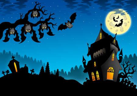tomb: Halloween landscape with mansion - color illustration.
