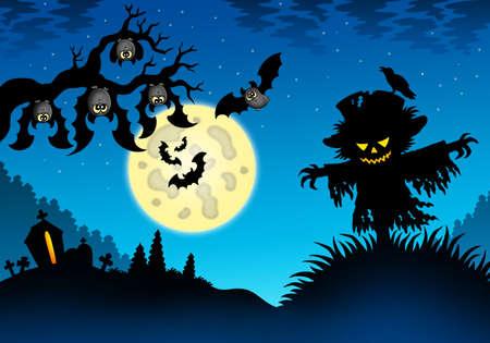 Halloween landscape with scarecrow - color illustration. illustration