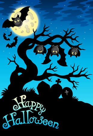 Happy Halloween sign with bats - color illustration. Stock Illustration - 7722916