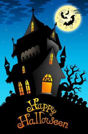 Happy Halloween sign with old house - color illustration. illustration