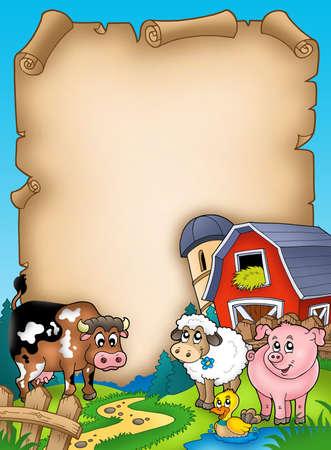 Pergamena con fienile e animali - illustrazione di colore.
