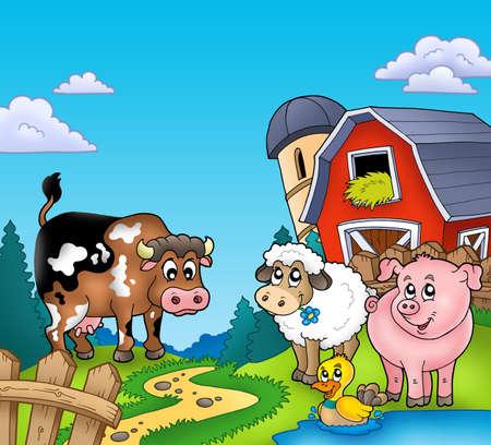 granja caricatura: Granero rojo con animales de granja - ilustraci�n de color.