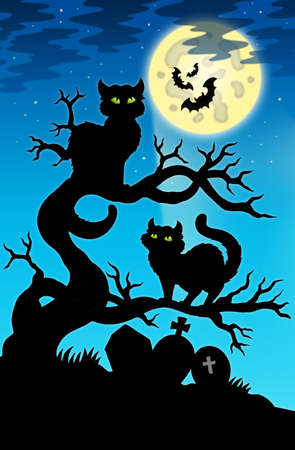 Two cats silhouette with full moon - color illustration. illustration