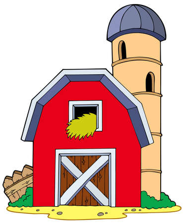 red barn: Barn with granary - illustration.