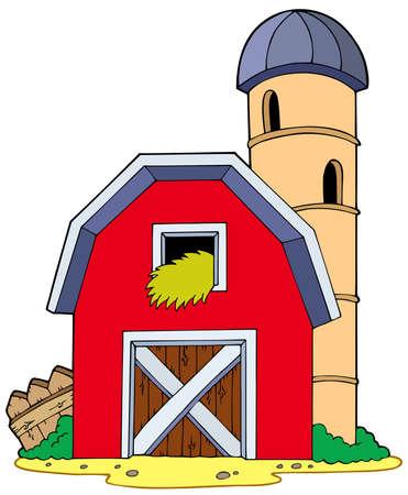 hoog gras: Schuur met graanschuur - illustratie.