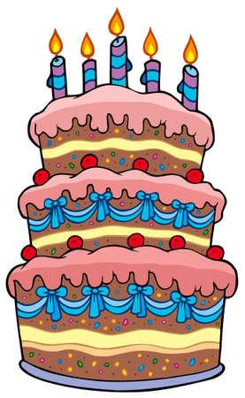大きな漫画ケーキの蝋燭 - イラスト。