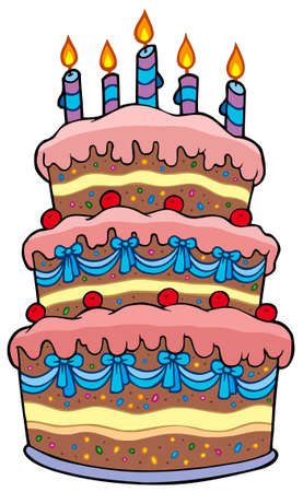 Big cartoon cake with candles - illustration. Vector