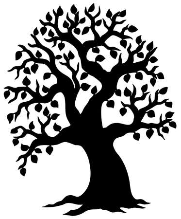 Big leafy tree silhouette - illustration. Vector