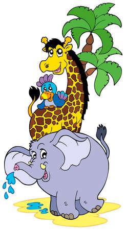 Cartoon African animals - illustration. Vector